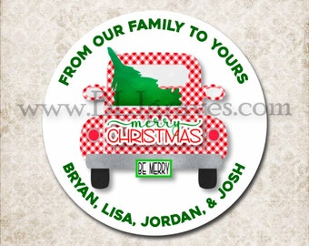 Personalized Christmas Vintage Truck Stickers, Merry Christmas Gingham Canning Labels, Gift Giving Labels, Mason Jar Favor Stickers D212