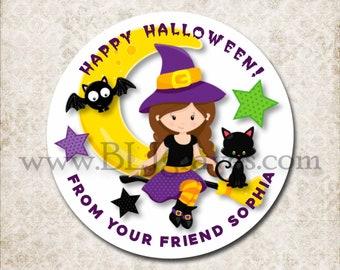 Custom Halloween Treat Bag Stickers, Witch, Black Cat, Bat Stickers, School Party Favor Sticker Labels, Mason Jar Labels D001