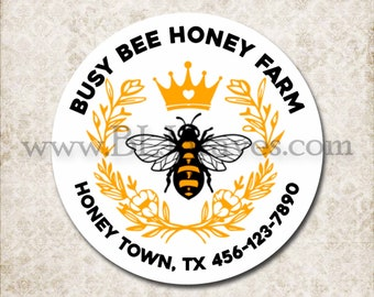 Honey Business Product Labels, Custom Queen Bee Stickers, Personalized Queen Bee Mason Jar Labels, Honey Business Logo Labels D317