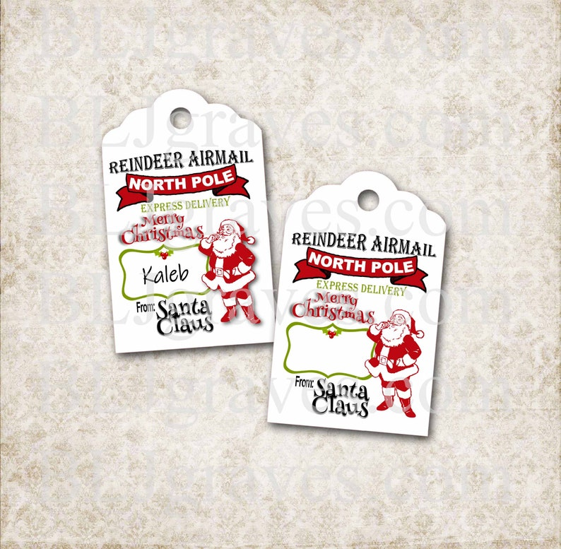 From Santa Christmas Gift Tags Custom Gift Tags Personalized image 0