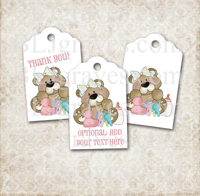 Custom Teddy Bear Baby Shower Tags Personalized Pink Duck image 0
