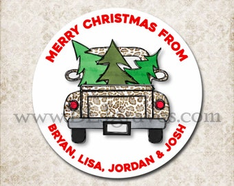 Personalized Christmas Vintage Truck Leopard Stickers, Merry Christmas Canning Labels, Gift Giving Labels, Mason Jar Favor Stickers D353