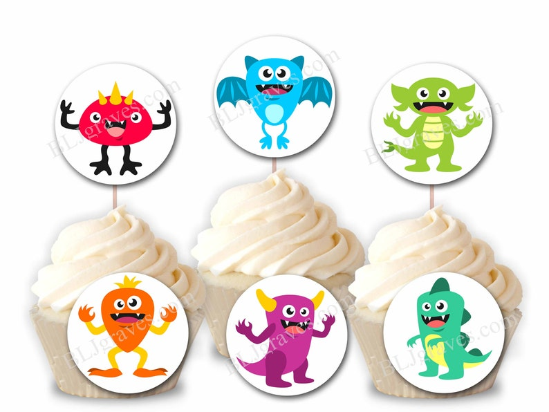 Custom Monster Cupcake Toppers Personalized Birthday Party image 0