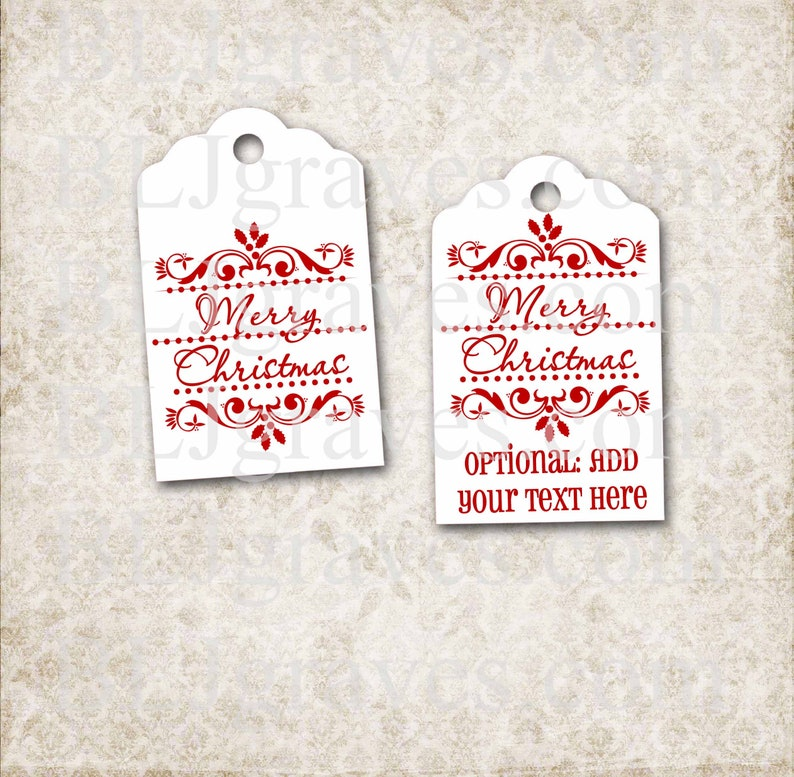 Handmade Merry Christmas Gift Tags Personalized Merry image 0