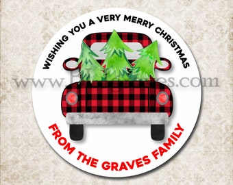 Personalized Christmas Vintage Red Buffalo Plaid Truck Stickers, Christmas Canning Labels, Gift Giving Labels, Mason Jar Favor Stickers D009