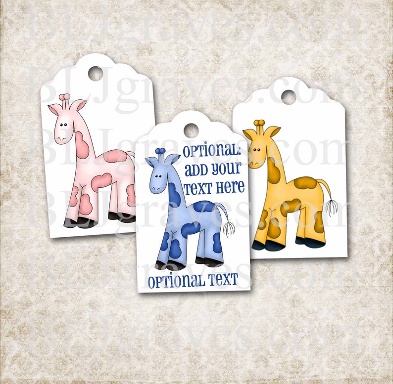 Custom Baby Shower Tags Personalized Giraffe Baby Shower Boy image 0