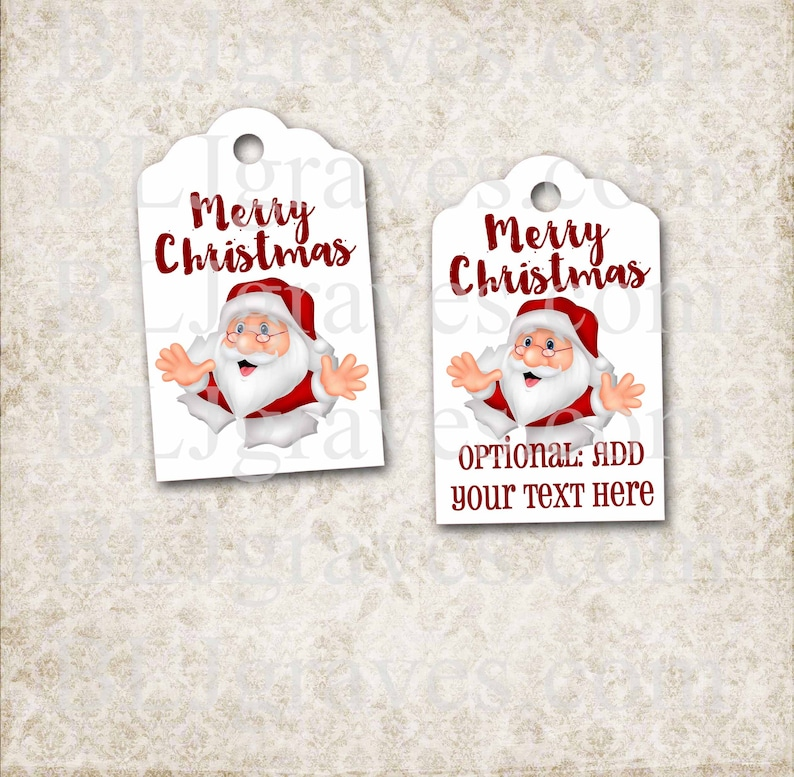 Handmade Santa Christmas Gift Tags Personalized Merry image 0