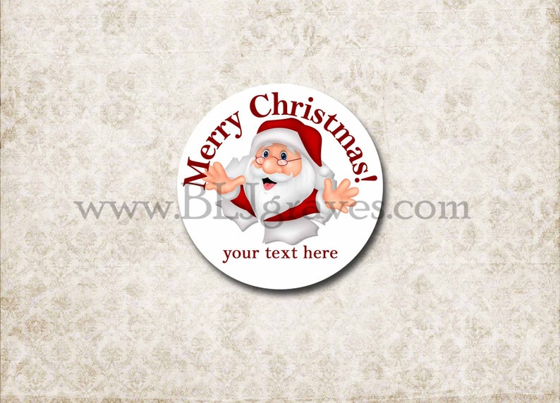 Personalized Santa Christmas Stickers  Merry Christmas image 0
