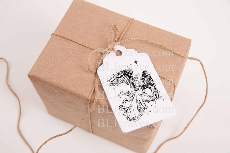 Angel Christmas Gift Tags Personalized Treat Bag Tags Custom image 0