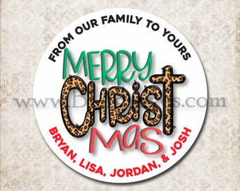 Personalized Leopard Christmas Canning Stickers, Custom Christ Christmas Stickers, Mason Jar Party Favor Stickers D218