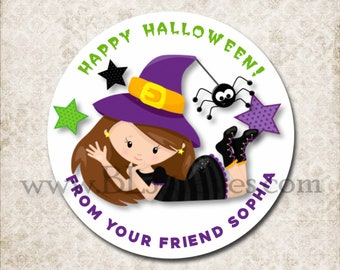 Personalized Halloween Witch Treat Bag Stickers, Custom Black Spider Stickers, School Party Favor Sticker Labels, Mason Jar Labels D035