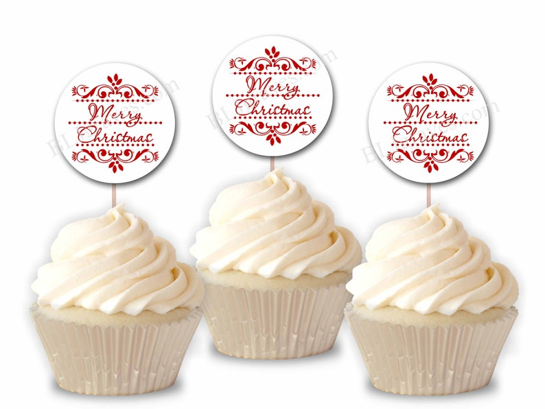 Merry Christmas Party Cupcake Toppers Party or Food Picks image 0