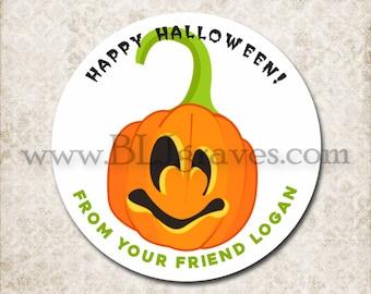 Personalized Halloween Treat Bag Stickers, Custom Pumpkin Sticker Labels, School Party Favor Sticker Labels, Mason Jar Labels D088