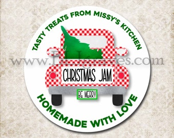 From The Kitchen Of Stickers, Christmas Jar Label, Custom Food Gift Labels, Personalized Baking Gift, Vintage Truck D313