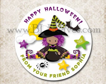 Personalized Halloween Witch Treat Bag Stickers, Custom Bat Spider Stickers, School Party Favor Sticker Labels, Mason Jar Labels D036