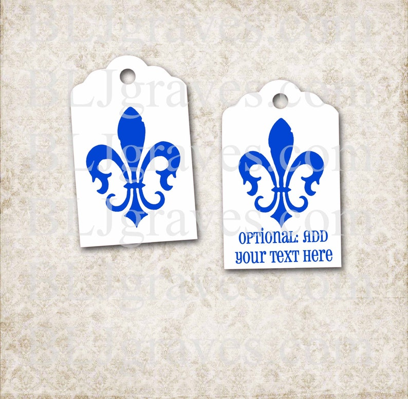 Personalized Blue Fleur de lis Tags Custom Mardi Gras Tags image 0