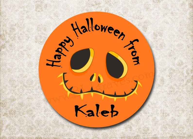 Personalized Halloween Stickers  Pumpkin Face  Halloween image 0