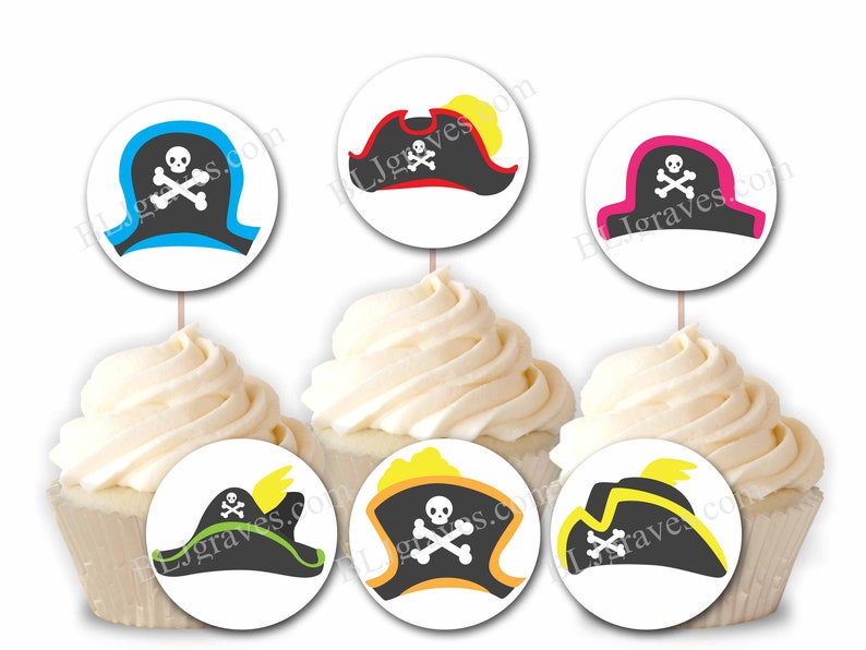 Custom Pirate Party Cupcake Toppers Personalized Pirate image 0