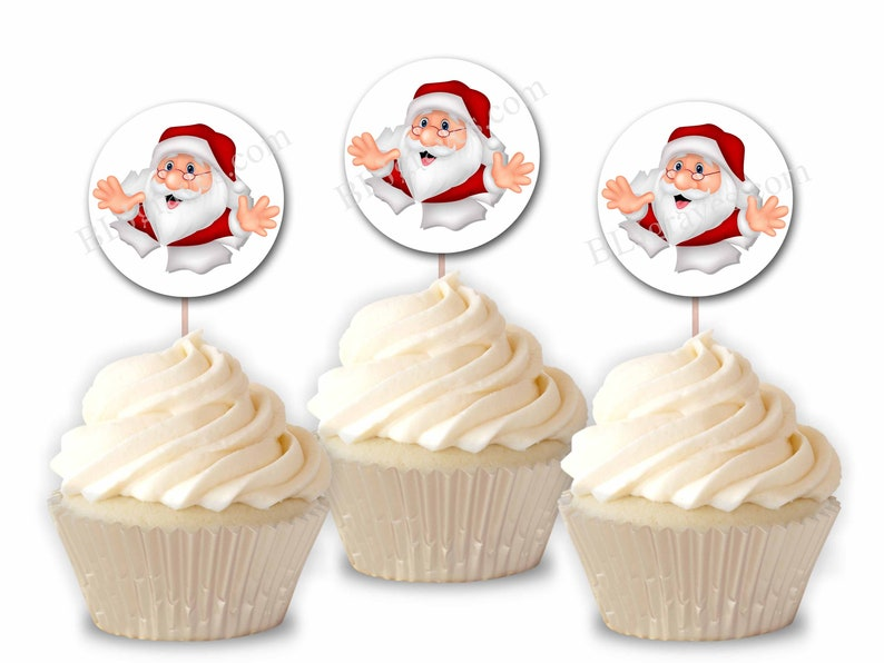 Santa Christmas Party Cupcake Toppers Party or Food Picks image 0