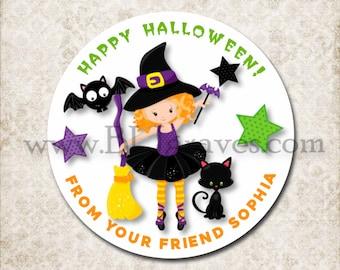 Halloween Witch Cauldron Treat Bag Stickers, Custom Black Cat, Bat Stickers, School Party Favor Sticker Labels, Mason Jar Labels D012