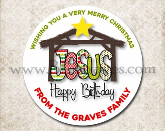 Personalized Nativity Christmas Canning Stickers, Custom Happy Birthday Jesus Christmas Stickers, Mason Jar Party Favor Stickers D155