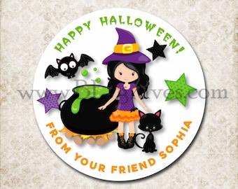 Halloween Treat Bag Stickers, Witch Cauldron, Custom Black Cat, Bat Stickers, School Party Favor Sticker Labels, Mason Jar Labels D014