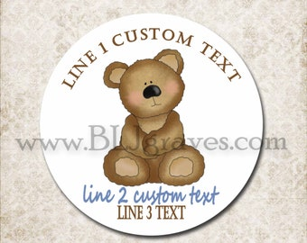 Custom Teddy Bear Baby Shower Stickers, Personalized Mason Jar Labels, Candy Kiss Stickers, Party Favor Treat Bag Sticker D023
