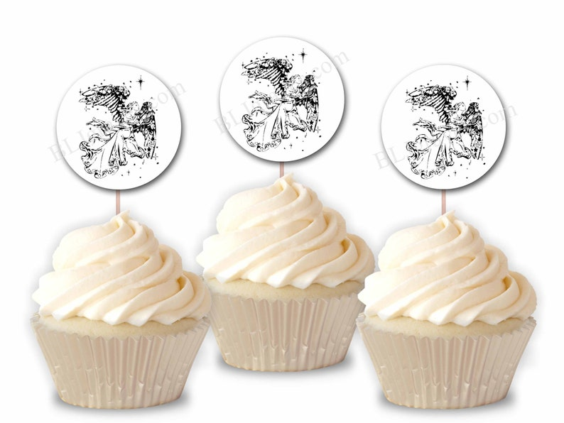 Angel Christmas Party Cupcake Toppers Party or Food Picks image 0