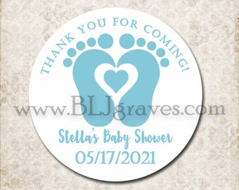 Custom Blue Baby Feet Shower Stickers, Personalized Mason Jar Labels, Thank You Sticker Labels, Canning Party Favor Treat Sticker D022