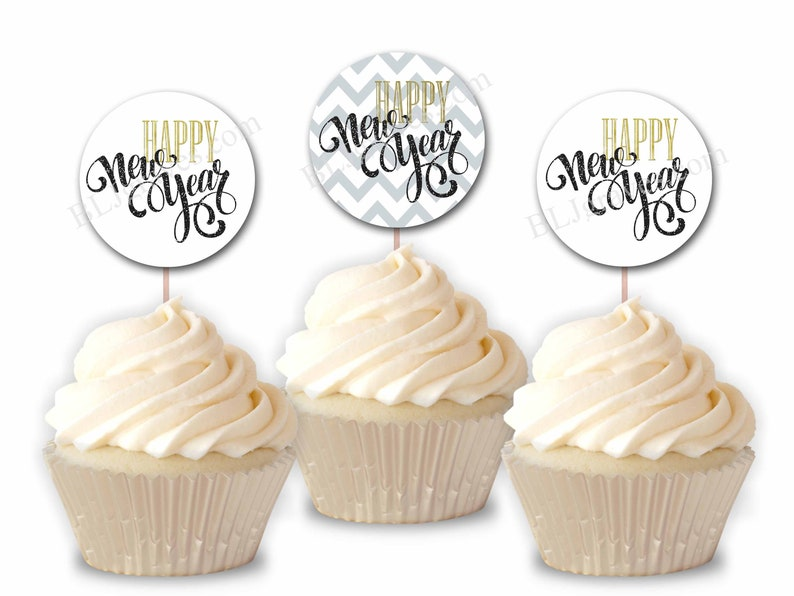 New Year Party Cupcake Toppers Party or Food Picks Set of 12 image 0