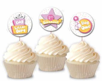 First Birthday Girl Cupcake Toppers, 1st Birthday Party or Food Picks, Set of 12  CT015