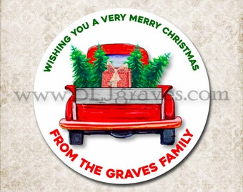 Personalized Christmas Vintage Red Truck Stickers, Merry Christmas Tree Canning Labels, Gift Giving Labels, Mason Jar Favor Stickers D439
