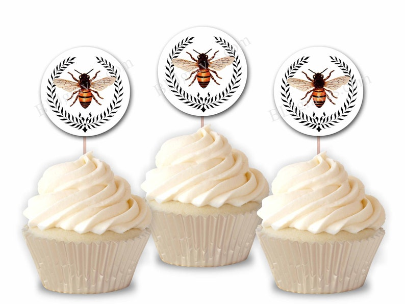 Bee Wreath Cupcake Toppers Flowers Party or Food Picks Set image 0