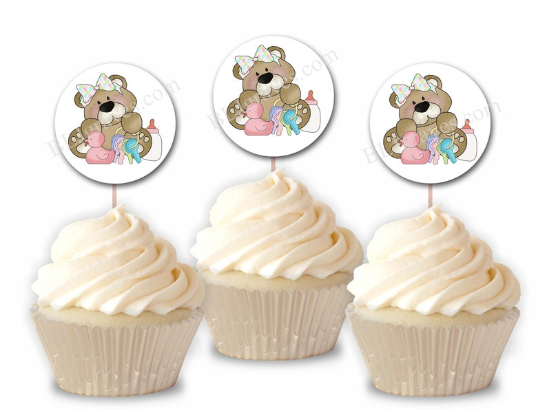 Baby Shower Cupcake Toppers Teddy Bear Duck Party Picks image 0