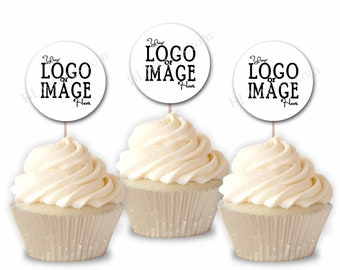 Custom Image, Logo or Text Cupcake Toppers, Business Logo Cupcake Topper, Personalized Cake Toppers, Party Picks, Set of 12 Toppers