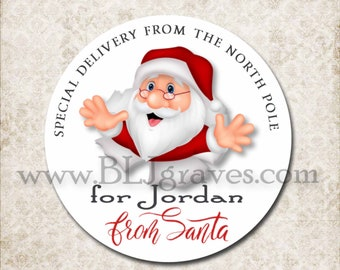 Personalized From Santa Christmas Gift Sticker Labels,  Custom Merry Christmas Canning Labels, Santa, Custom Jar Label Stickers D111