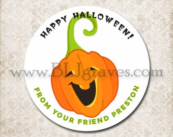 Personalized Halloween Treat Bag Stickers, Custom Pumpkin Sticker Labels, School Party Favor Sticker Labels, Mason Jar Labels D095