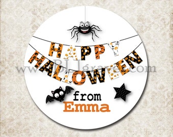 Personalized Halloween Stickers,  Happy Halloween, Spider, Bat, Halloween Favor Stickers, Party Favor Treat Bag Stickers D101