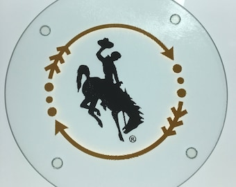 Officially Licensed Wyoming cowboy glass cutting board round approx 7.5 inches
