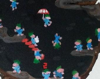 Lemmings Painting Wooden Pendant Medallian - Retro Video Game Mini Acrylic Painting