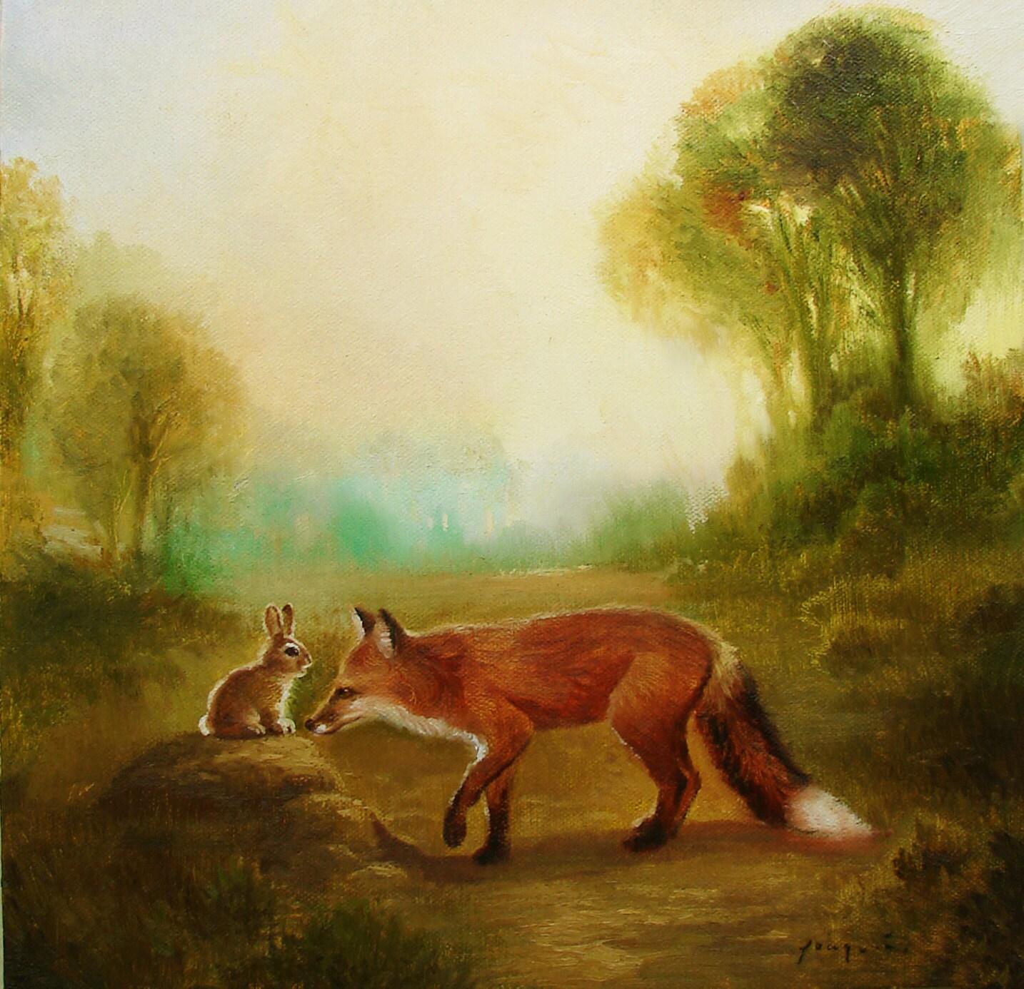 Картинка лиса и зайцы