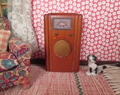 Vintage Miniature Kage Dollhouse Furniture - Console Radio - 3 4 Scale