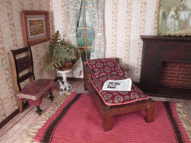 Sale! Vintage Dollhouse Furniture Upholstered Craftsman Style Chaise Lounge  1/12 Scale for sale