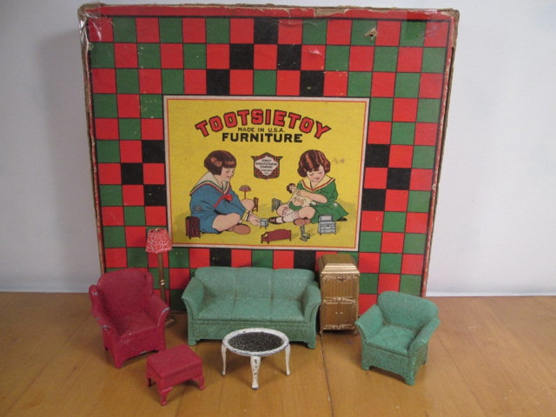 Tootsietoy Metal Dollhouse Furniture - Overstuffed Living Room Suite with  Box - 1930\'s - 1/2\
