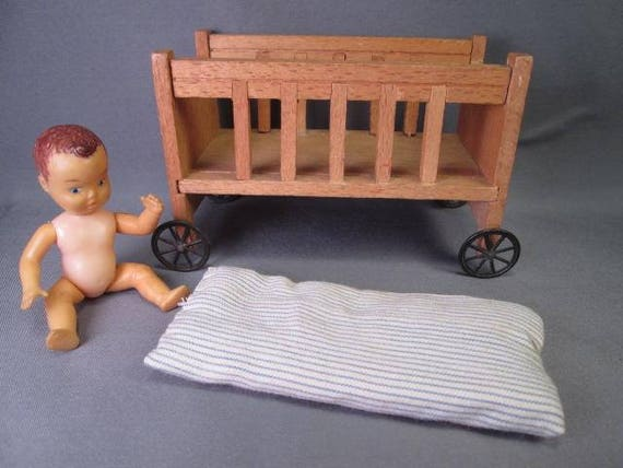Vintage Dollhouse Furniture Baby Crib With Wheels Made In Etsy