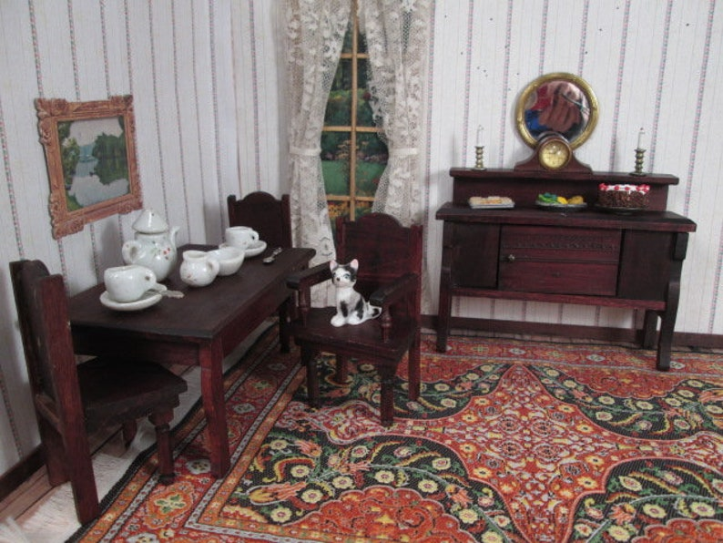 Vintage German Dollhouse Furniture Red Stain 5 Piece Dining Etsy