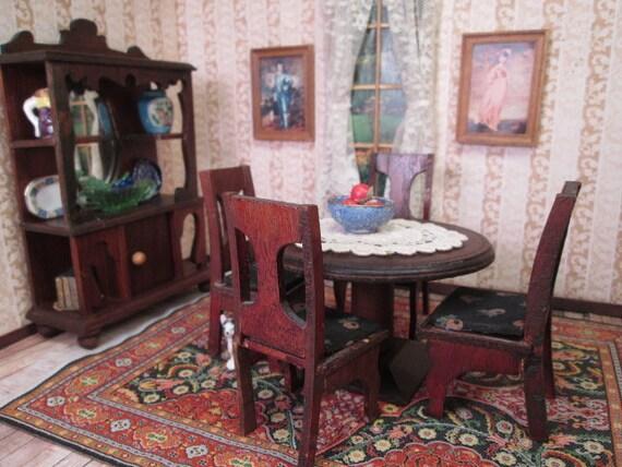 Antique Dollhouse Furniture - 6 Piece Dining Room Set - 1\