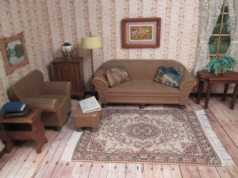 Strombecker Wooden Dollhouse Furniture 7 Piece Living Room Etsy