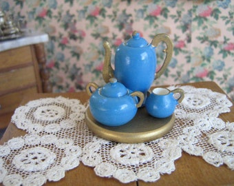 Vintage German Blue Treen Ware (Wooden) Coffee Set- Three Piece Set w/ Tray - Dollhouse Accessory in 1:12 Scale- EXCELLENT CONDITION !!