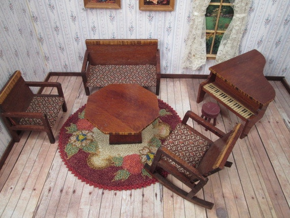 image 0 - Antique Dollhouse Furniture Art Deco Parlor Set With Settee Etsy